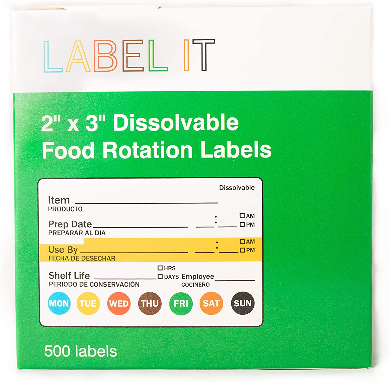 """Day Labels (Dissolvable) Food Rotation Labels, 2"""" x 3"""" Adhesive Stickers, 500-Pack"""