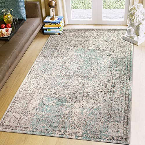 Super Area Rugs 8 X 10 Oriental Vintage Area Rug Traditional Dining Room Carpet, Neutral, Gray Mint