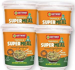 Sattviko Instant Tapioca (Sabudana) Supermeal - Indian Food Ready to eat | Ready to eat meal | Vegetarian Food | Vegan Meals | Plant based food | Instant Meals | Foodyoga- Flavor Magic Masala, 4 Cups