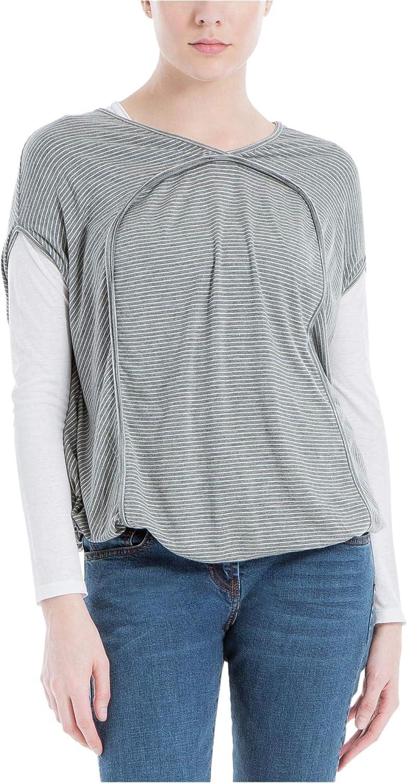 Max Studio London Womens Bubble Hem Basic T-Shirt X-Small Grey