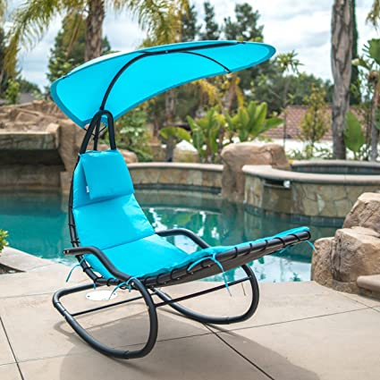 Amazon Com Belleze Hanging Rocking Lounge Chair Sun Shade Chaise