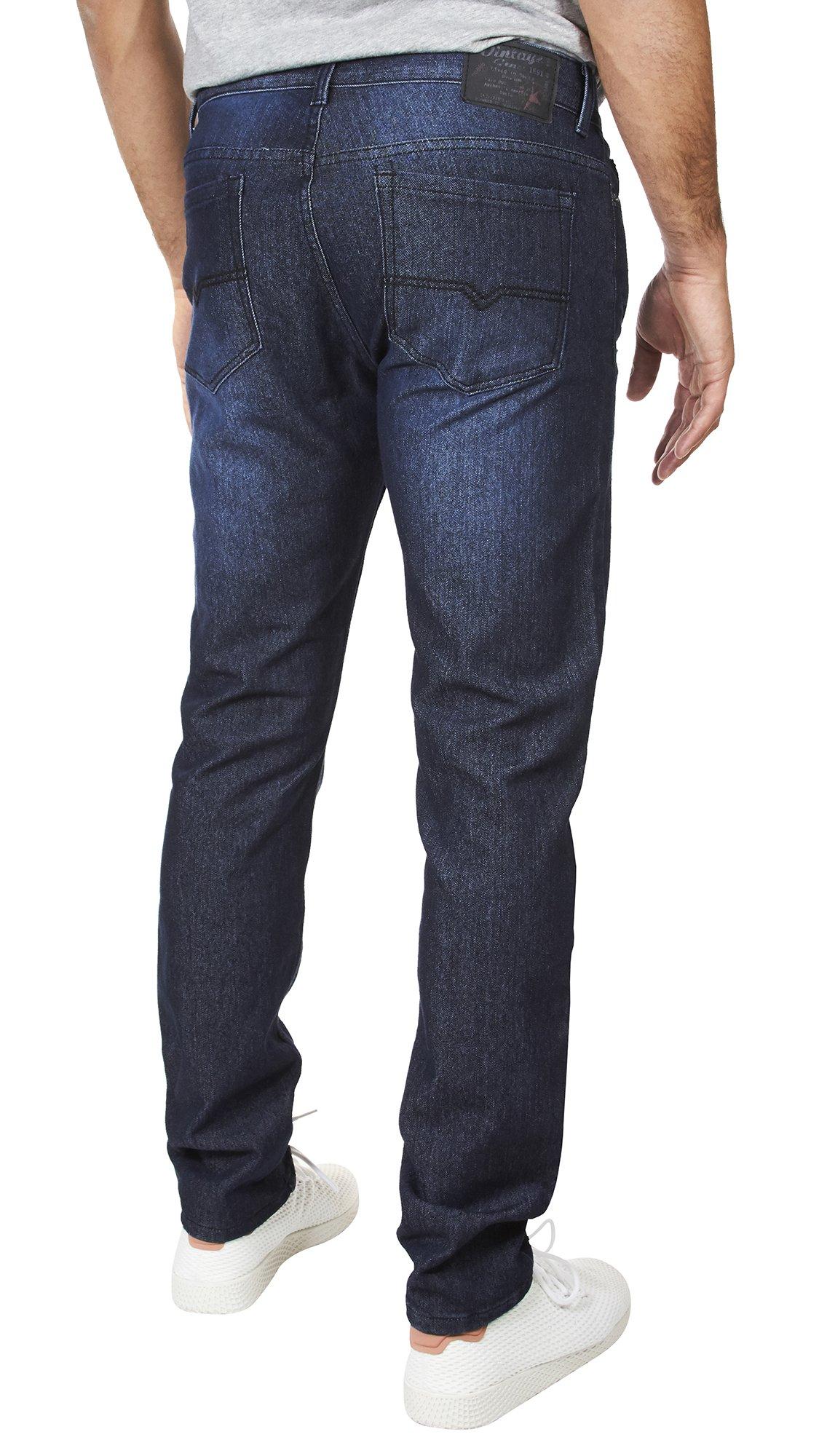VINTAGE GENES 1899 Mens Stretch Slim Washed Denim Jeans Blue Wrinkle 36X32 by VINTAGE GENES (Image #3)