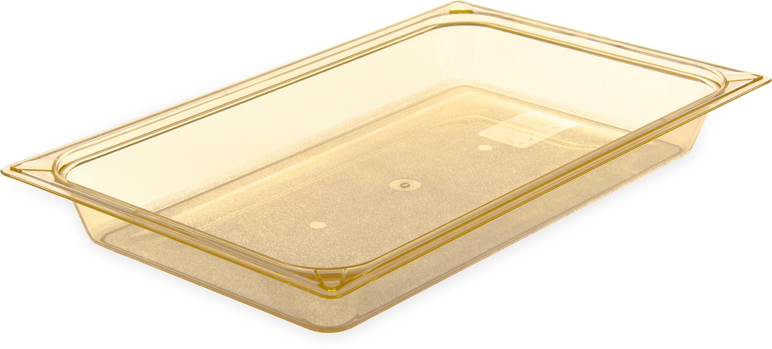 Carlisle 10400B13 High-Heat Full-Size Food Pan, 7.6 qt. Capacity, 20-3/4 x 12-3/4 x 2-1/2'', Amber (Case of 6)