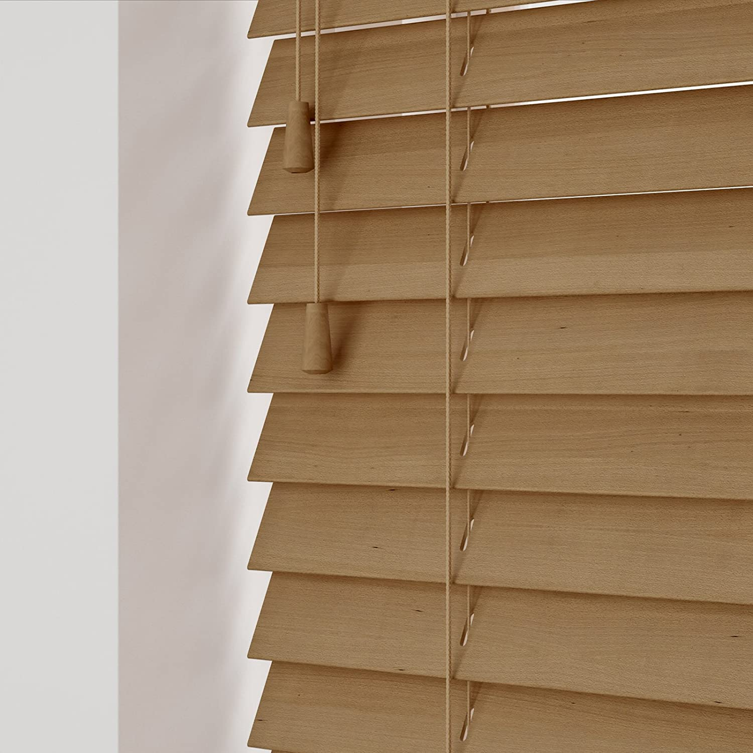 eXtreme® GENUINE WOOD VENETIAN BLIND - TAWNY OAK 50MM WIDE SLAT - MADE TO YOUR OWN SIZES! (60cm wide x 180cm height)