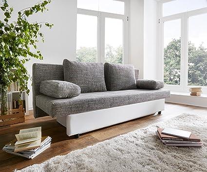 Sofá cama Serpil blanco gris claro con cajoneras 200 x 82 cm ...