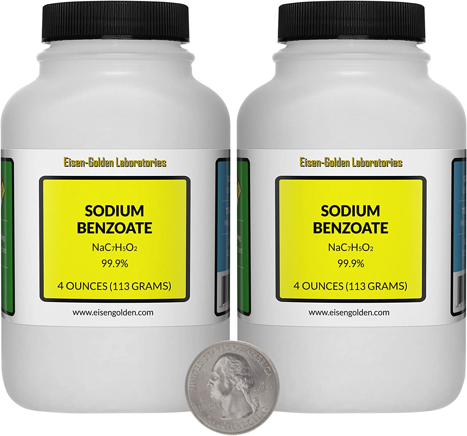 Sodium Benzoate [NaC7H5O2] 99.9% USP Food Grade Micropellets 8 Oz in Two Bottles USA