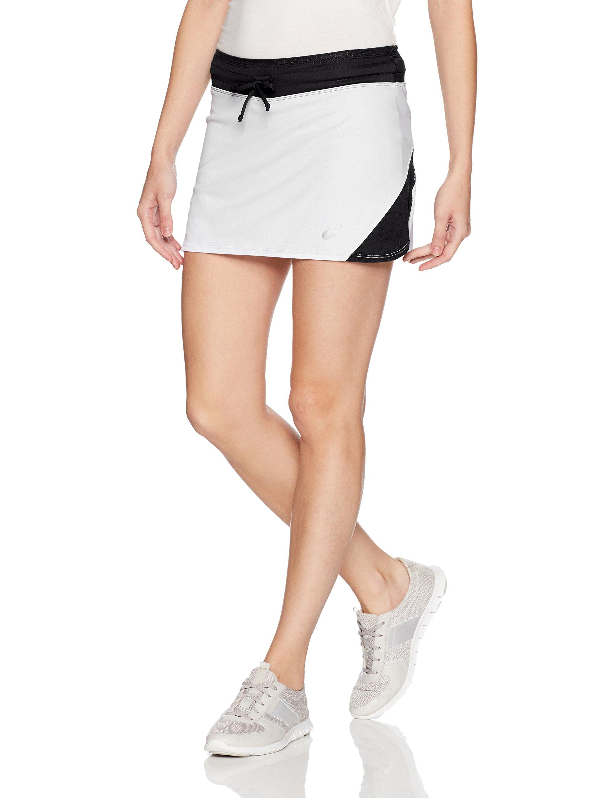 ASICS Women's Spin Slice Skort, White/Black, Small
