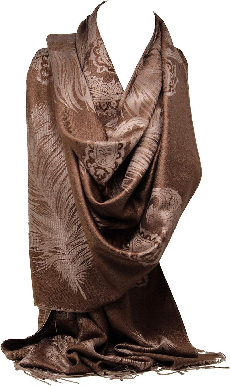 Bullahshah Pashmina f/ühlen wickeln Selbst pr/ägeartiger Paisley-Druck mit Paisley drucken lebendigem Randschal-Schal stahl Hijab