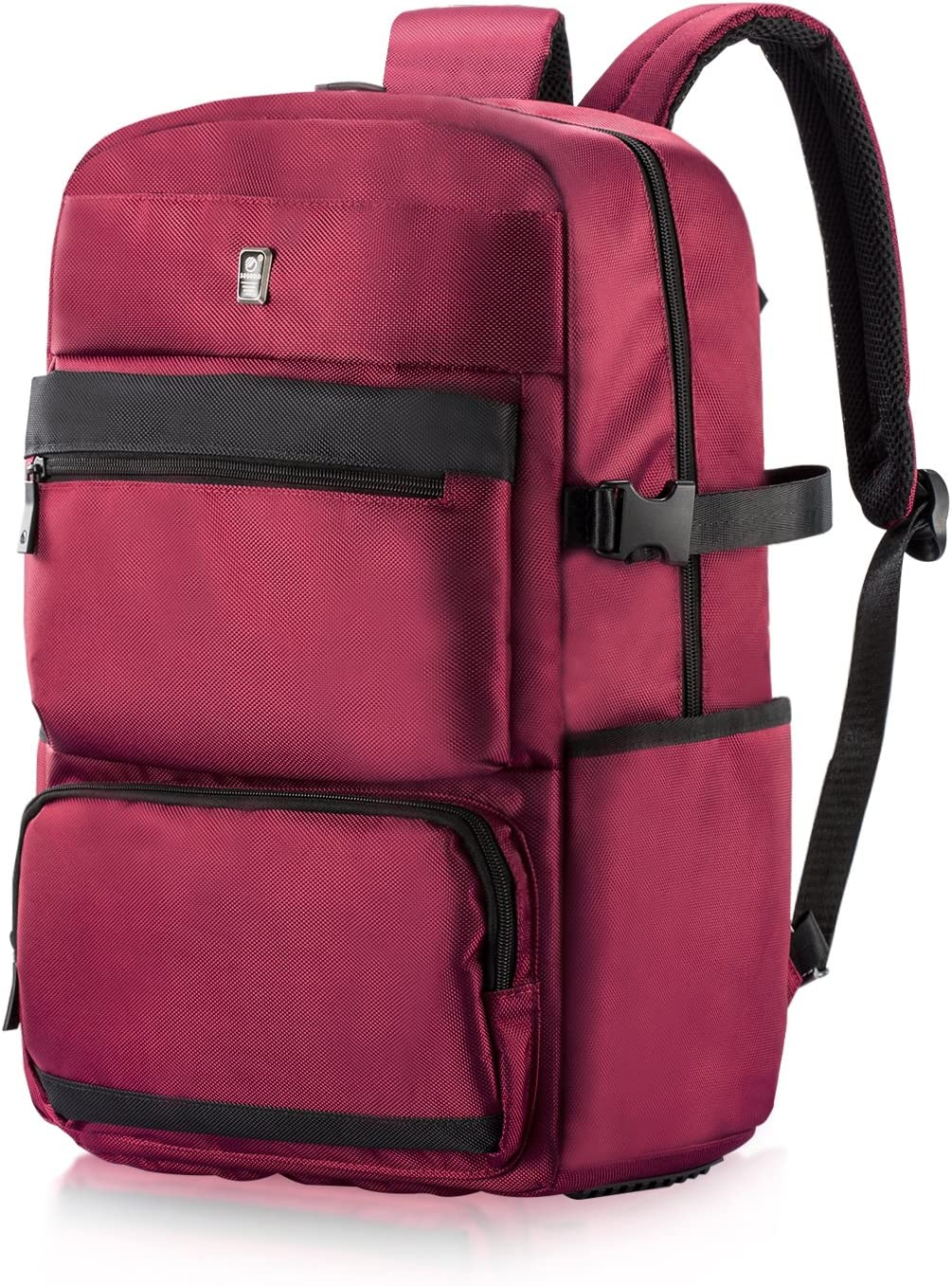 Travel Laptop Backpack, Sosoon Lightweight Waterproof Resistant Polyester Business Backpack School Bag Travel Daypack for College Student Work Men Women, Fits Under 17 Inch Laptop Notebook, Red