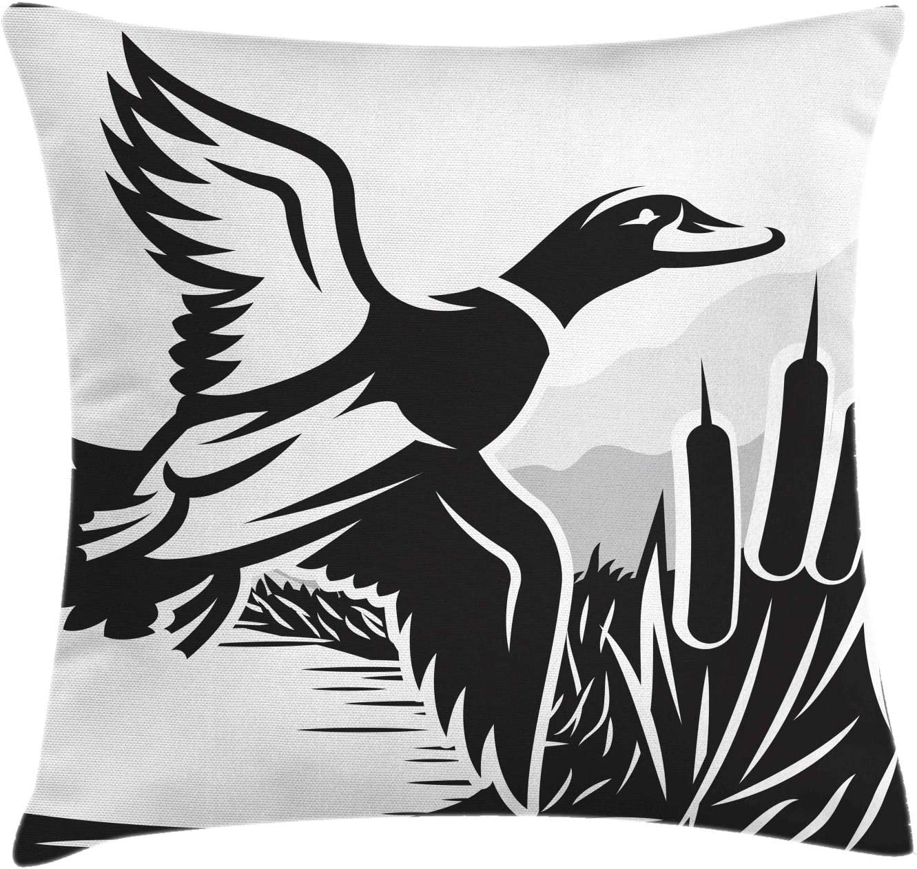 Amazon Com Ambesonne Duck Hunting Throw Pillow Cushion Cover Bold Monochrome Computer Graphics Of A Flying Duck Over The Water Decorative Square Accent Pillow Case 40 X 40 Charcoal Grey And White Home