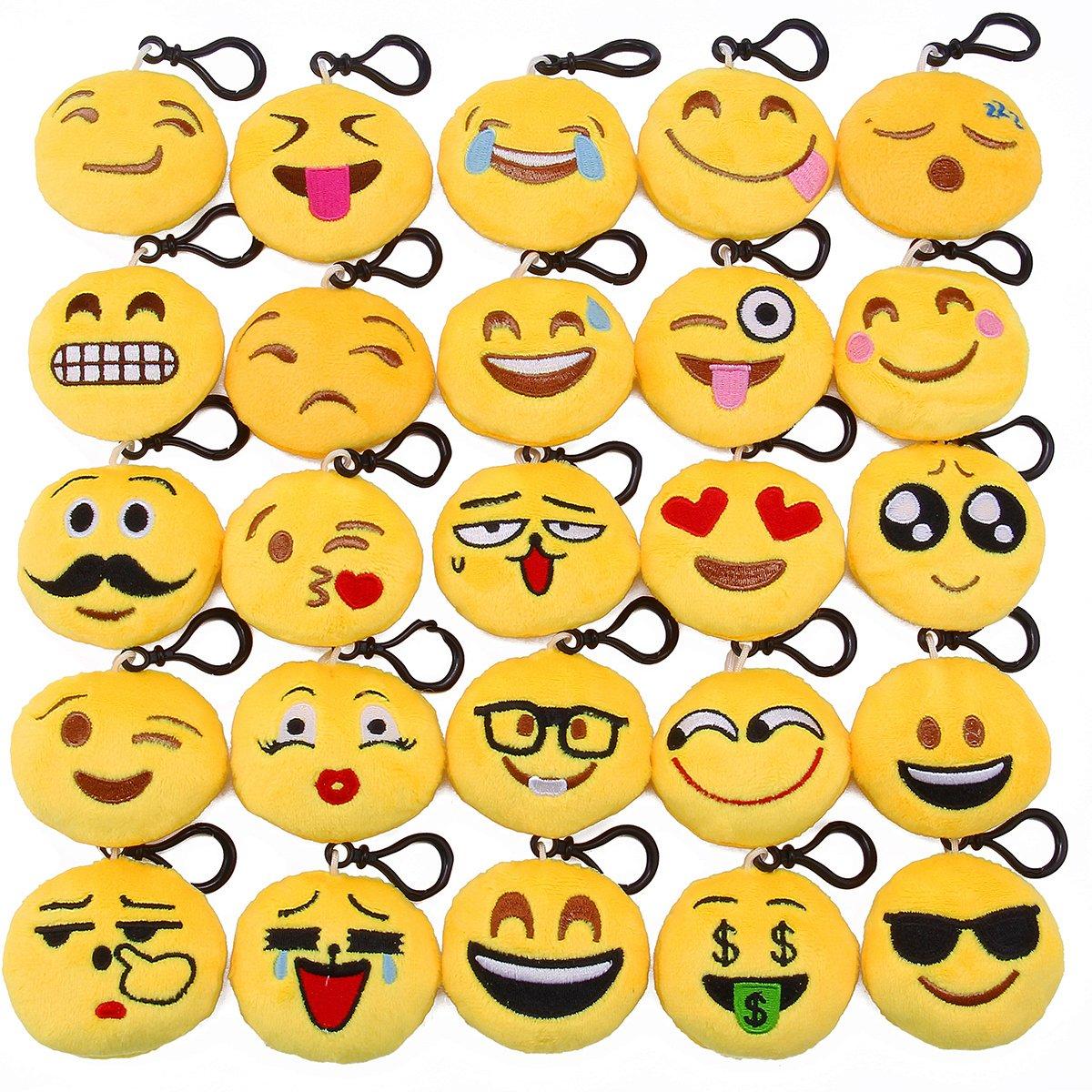 Lenink Emoji Party Supplies,25 Pack Emoji Keychain,Mini Plush Emoji  Pillows,Emoji Party Favors for Kids Backpacks and Bags Decorations
