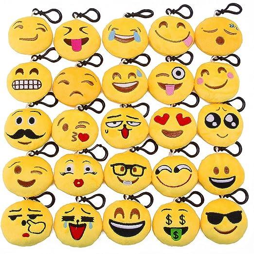 Emoji parte suministros, 25 Pack Emoji Llavero, Mini peluche ...