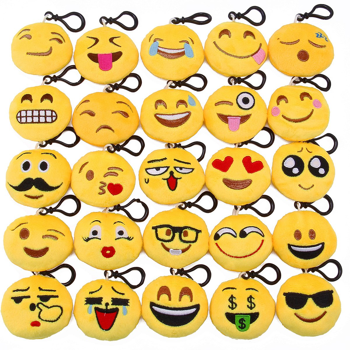 Lenink Emoji Party Supplies,25 Pack Emoji Keychain,Mini Plush Emoji Pillows,Emoji Party Favors for Kids Backpacks and Bags Decorations