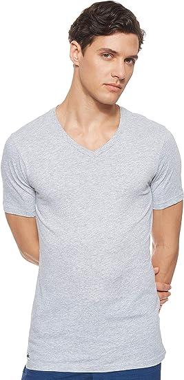 TALLA S. Lacoste 3 Pack Camiseta Hombre, Essentials, Cuello Pico, Ajuste Slim, Colores Lisos - Gris