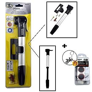 TL Bomba DE Bicicleta + Kit REPARACIÓN de pinchazos Pack Completo para iniciación al Ciclismo.