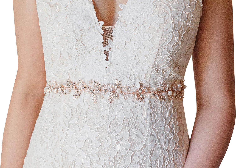 Sweetv Rose Gold Bridal Belt Rhinestone Wedding Dress Belt Handmade Beaded Leaf Bridesmaid Sash At Amazon Women S Clothing Store