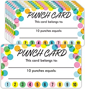 Youngever Punch Cards 200 Pack, Incentive Loyalty Reward Card for Classroom, Business, Kids, Students, Teachers 3.5 inch x 2 inch