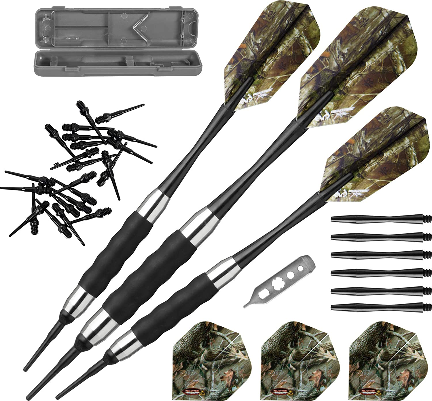 Fat Cat Darts 17 gm Soft Tip Dart Set-Camouflage Flights-Choice-Shafts-Tips