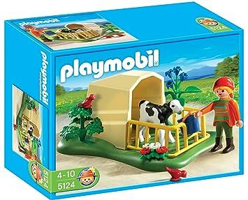 Playmobil Granja Ternero Con Refugio (5124): Amazon.es: Juguetes y juegos