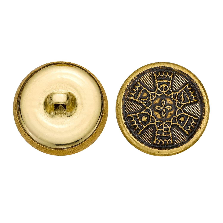 Antique Gold Size 33 Ligne 36-Pack C/&C Metal Products Corp C/&C Metal Products 5293 Crest Metal Button