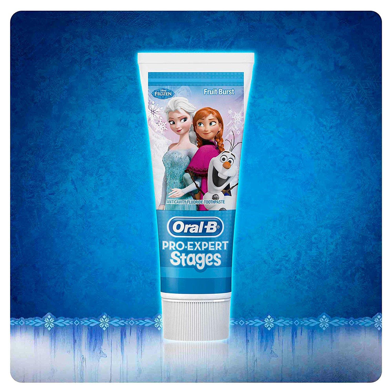 Oral B Frozen - Cepillo electrico, recargable y pasta de dientes Oral B, color azul y rosa: Amazon.es: Salud y cuidado personal