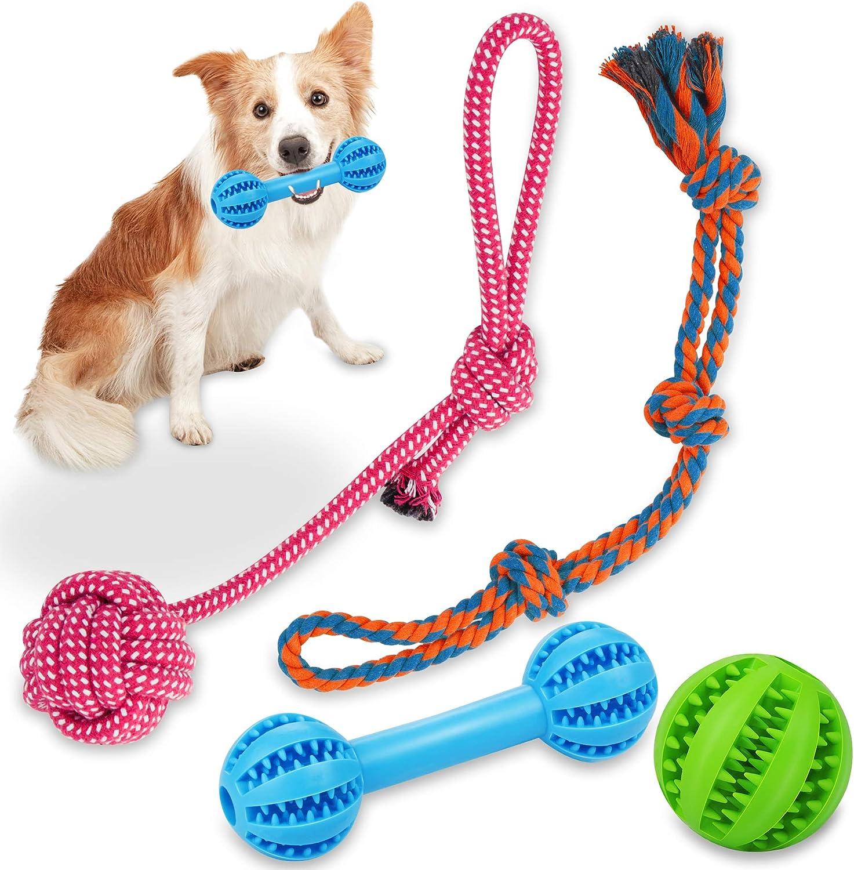 Wimypet 4 Piezas Juguetes de Cuerda para Perros, Juguetes Perro, Cuerda para Masticar Pelota para Limpiar los Dientes Regalos para Perrito Pequeños Medianos Dog Ball Toys para Mascotas No Tóxica