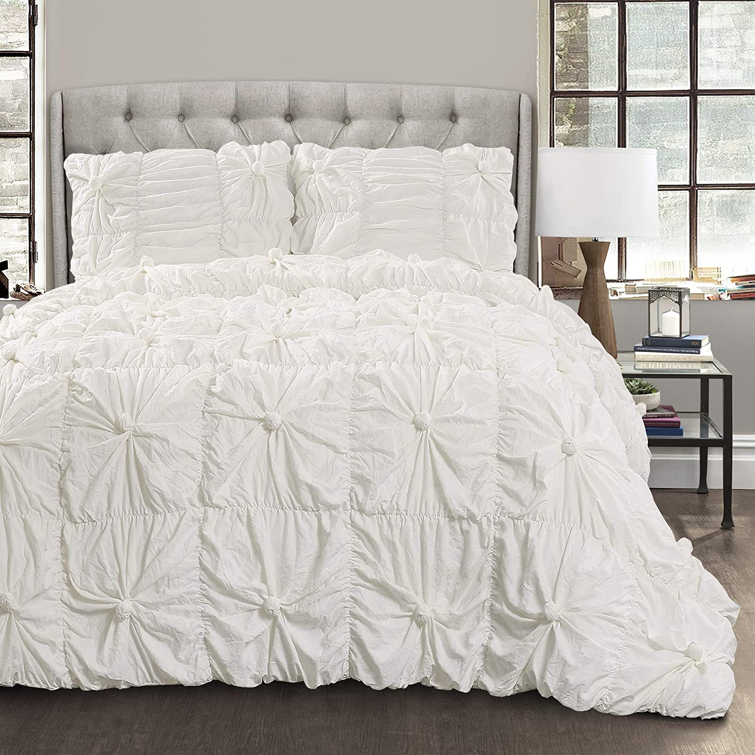 Lush Decor White Bella Comforter Set Shabby Chic Style Ruched 3 Piece Bedding with Pillow Shams-Full Queen