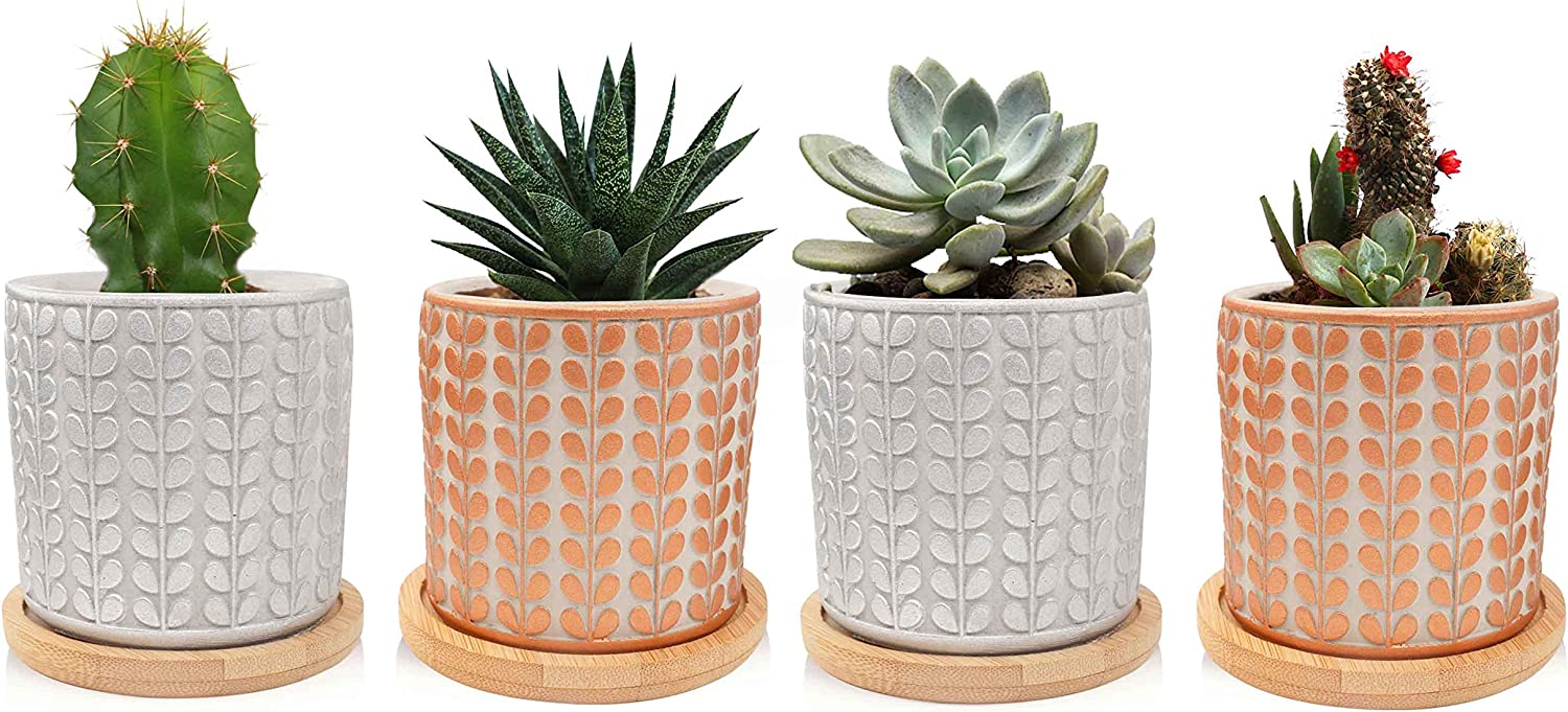 ANOTION Succulent Plant Pots, 2.9 inch Mini Cement Planter with Bamboo Tray, 4 Packs, Retro Style Modern Style Marbling Cactus Plant Pot for Garden, Balcony, Office, Birthday