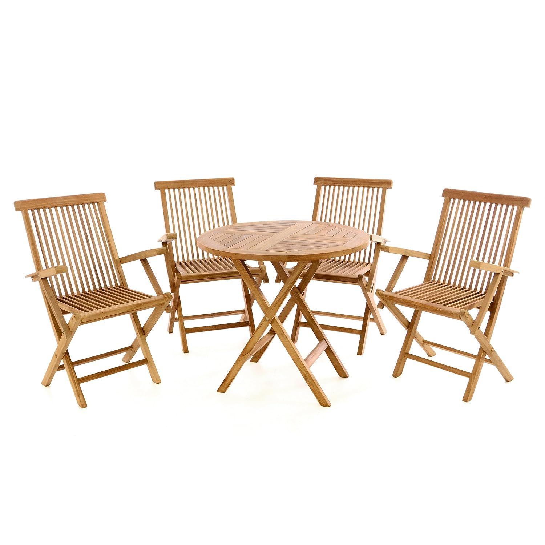 Divero Gartenmöbel-Set Terrassenmöbel-Garnitur Sitzgruppe Tisch Ø 80cm 5-TLG. 4X Holzstuhl mit Armlehnen klappbar – Teakholz massiv behandelt