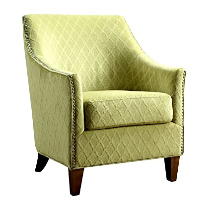 Amazon Com Accent Armchair Heavy Duty Wooden Frame Lime Fabric