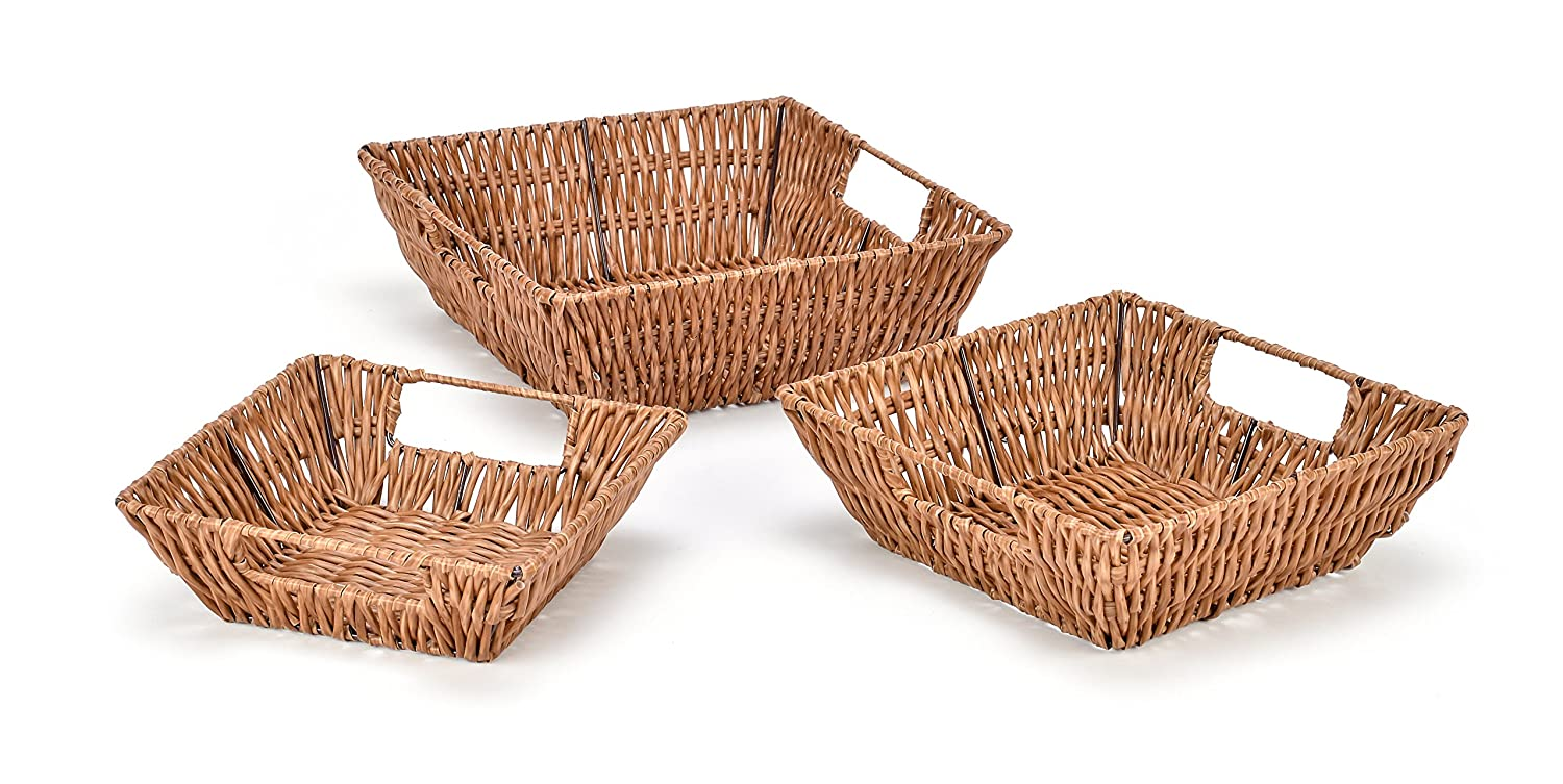 Trademark Innovations Set of 3 Square Wicker Look Baskets With Built In Handles BSKT-SQ2-3X