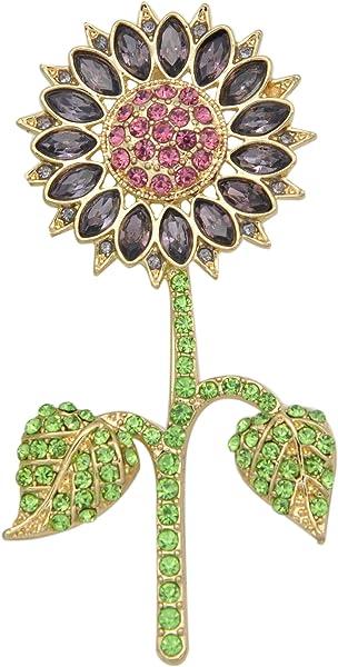 6a3dfc5cc5fd Gyn   Joy chapado en oro cristal morado girasol broche y Pin con verde  hojas bz025