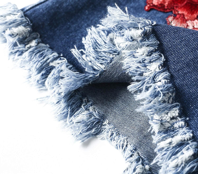 Show-Show-Fashion-pants Flower Embroidery high Waist Denim Shorts Women Casual Zipper tas,Blue,S