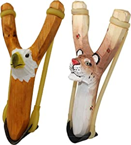 NatureLaunchers Nature LAUNCHERS - Hand-Carved Wooden Slingshot - 2 Pack - Cheetah and Eagle