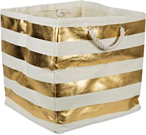 DII Woven Paper Textured Storage Basket X-Large, Gold Rugby Stripe, Square Bin