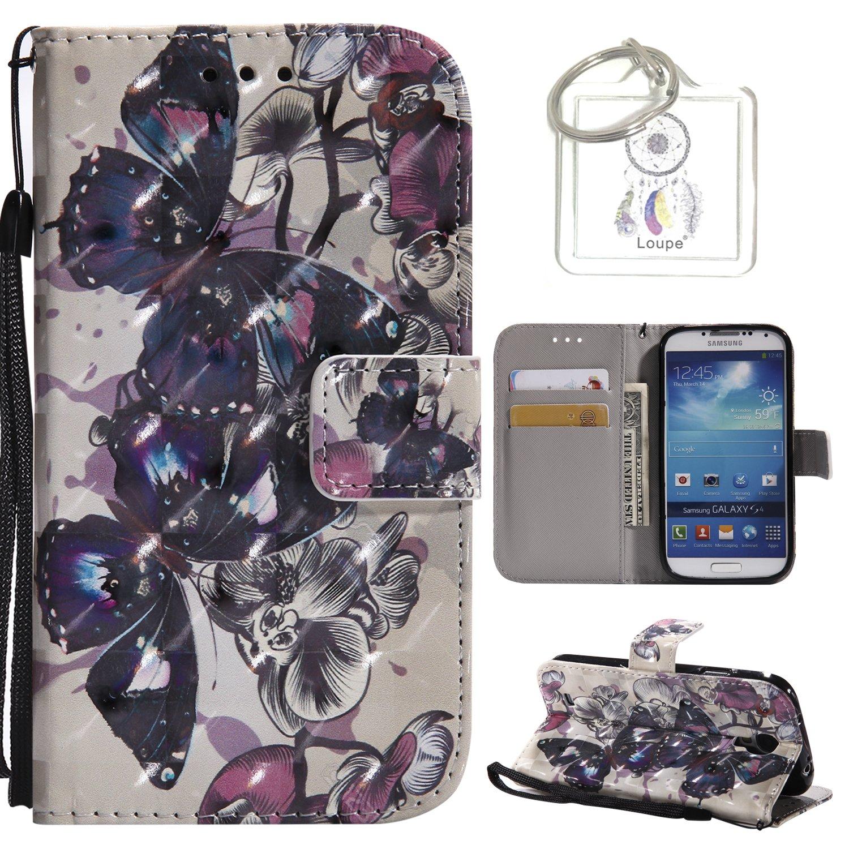 Coque Galaxy S4 I9500 Housse en Cuir, 3D Retro Peint Housse Coque Désign avec Carte de Crédit et Dragonne Stand Debout Fonction Souple Caoutchouc PU Cuir Etuis + Porte-clés (P) Lohpe