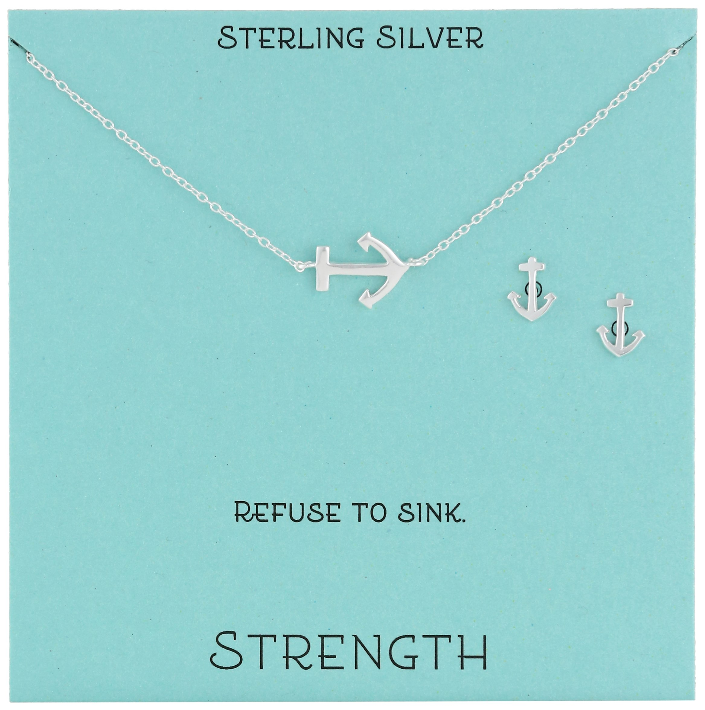 Sterling Silver Anchor Necklace and Earrings Jewelry Set, 18''