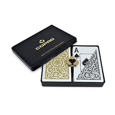 Copag Bridge Size Jumbo Index 1546 Playing Cards (Black Gold Setup): Sports & Outdoors