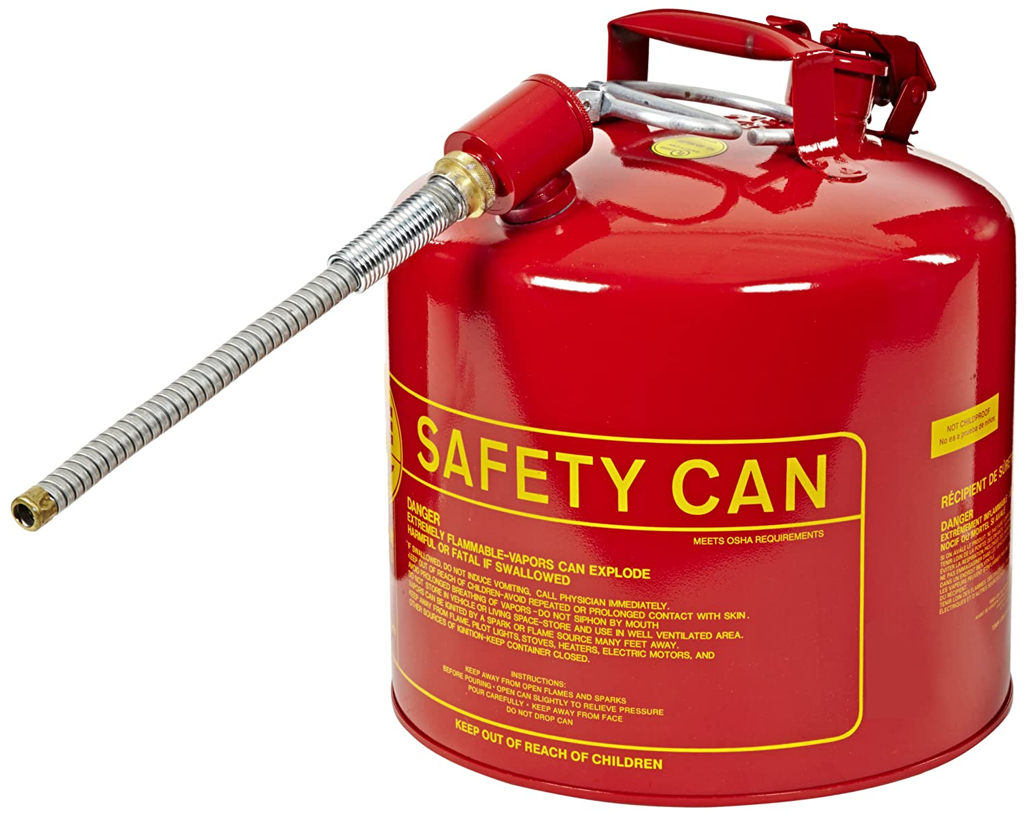 Eagle U2-51-SX5 Type II Metal Safety Can, Flammables, 11-1/4' Width x 15-7/8' Depth, 5 Gallon Capacity, 5/8' OD Pour Spout, Red 11-1/4 Width x 15-7/8 Depth 5/8 OD Pour Spout Eagle Manufacturing