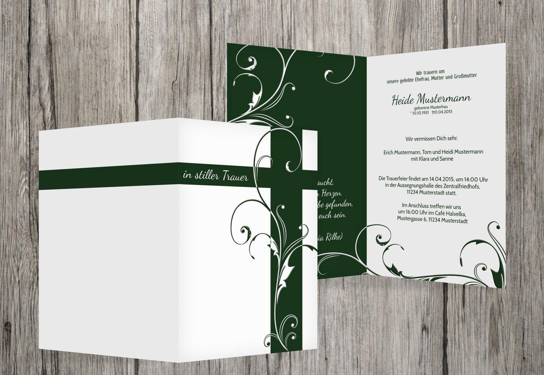 Tarjeta de luto Flores Cruz, dunklesGruuml;n, 60 Karten