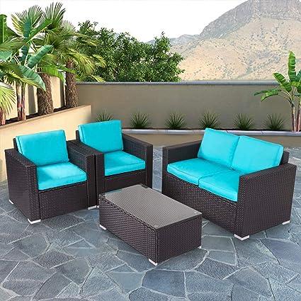 Surprising Kinbor New 4 Pcs Rattan Patio Outdoor Furniture Set Garden Lawn Sofa Sectional Set Black Home Interior And Landscaping Staixmapetitesourisinfo