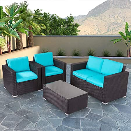 Kinbor New 4 PCs Rattan Patio Outdoor Furniture Set Garden Lawn Sofa Sectional Set Black