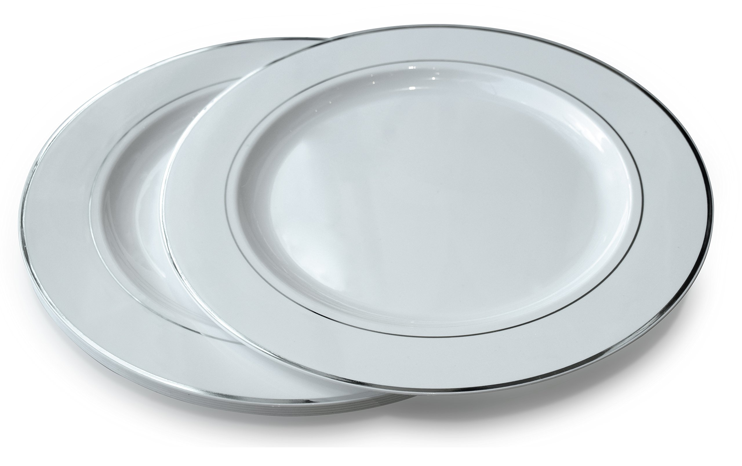 '' OCCASIONS'' Wedding Party 12'' Disposable Plastic Charger Plates/Chargers (120 pcs, White w/Silver Rim)