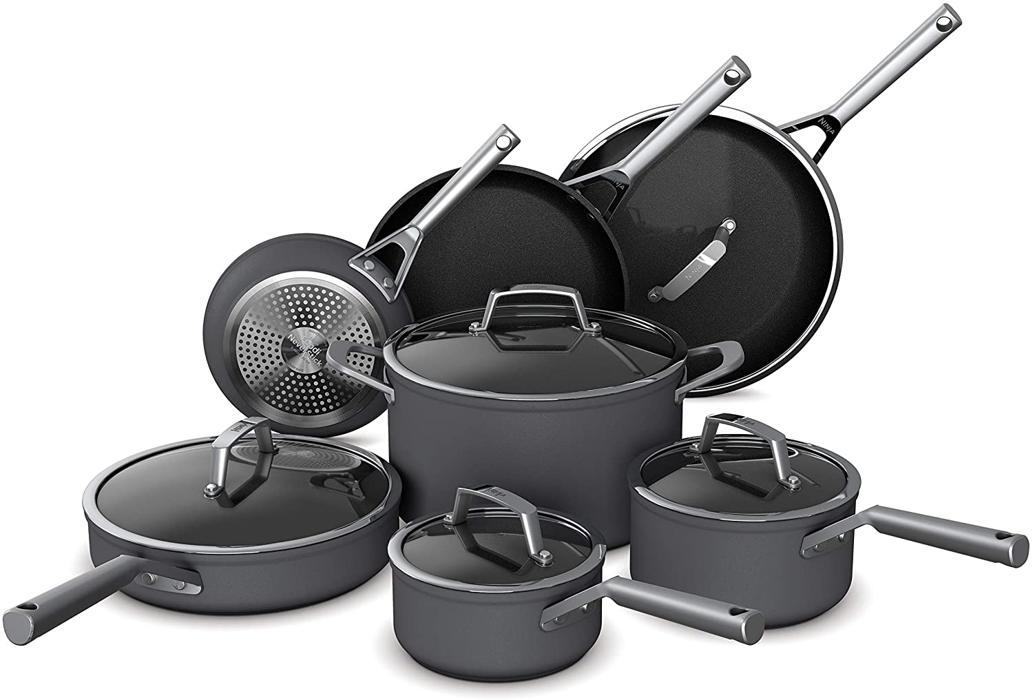 Ninja C39800 Foodi NeverStick Premium Hard-Anodized 12-Piece Cookware Set, nonstick, durable, oven safe to 500°F, slate grey