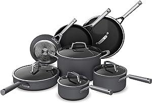 Ninja C39800 Foodi NeverStick Premium Hard-Anodized 12-Piece Cookware Set, nonstick, durable, oven safe to 500°F, slate grey