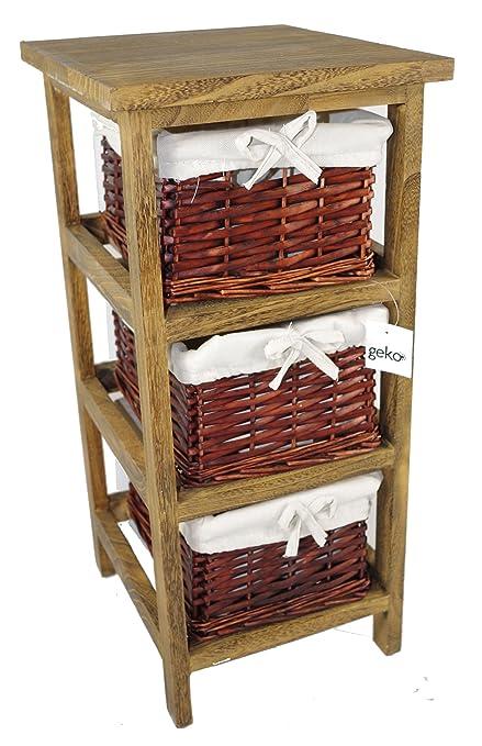Geko 27 x 31 x 58 cm Layburn 3 cajones de madera mueble con cajones ...