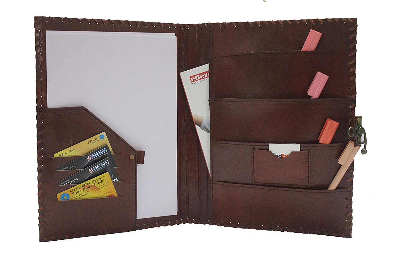 amazoncom blf vintage handmade embossed leather portfolio resume pad folio cover file folder professional business organizer notepad holder perfect