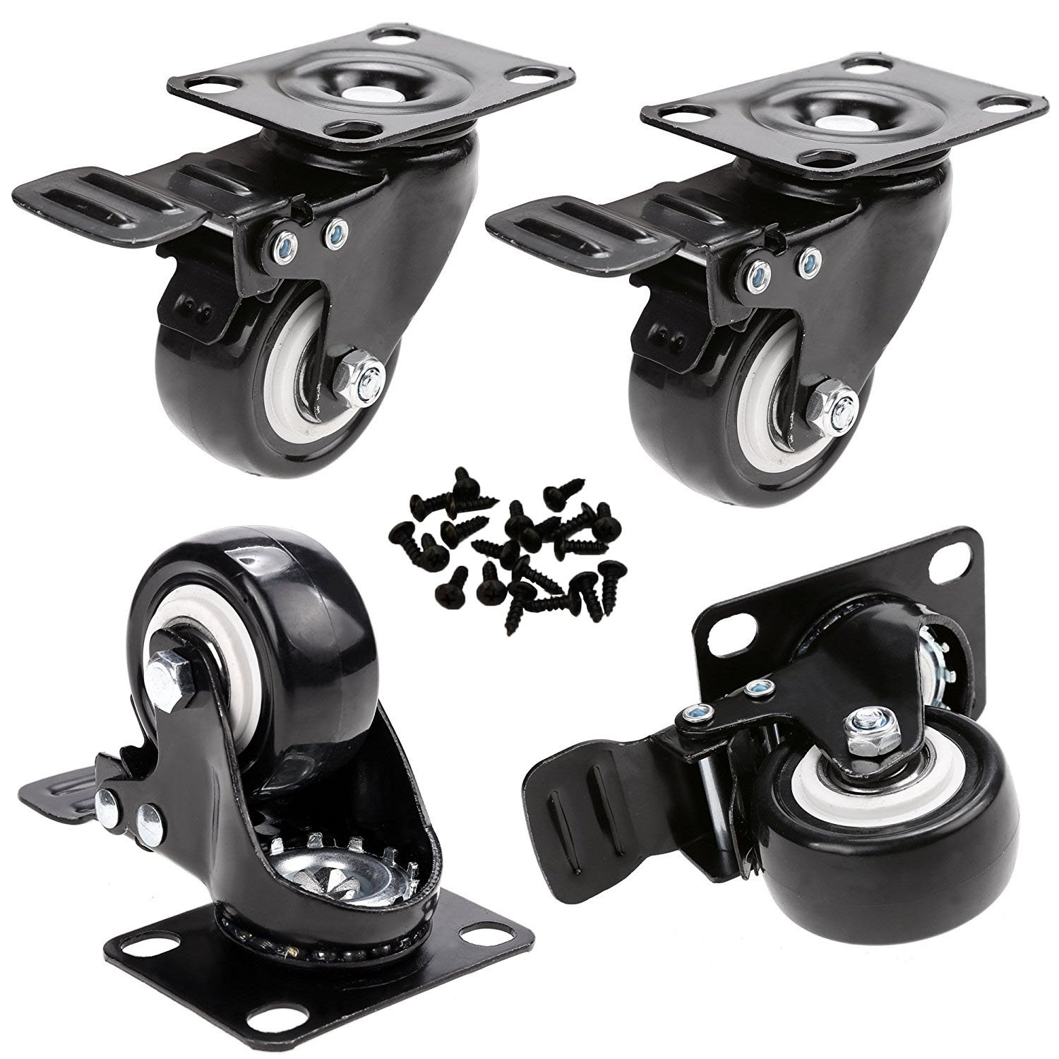 GAGEC 2'' Swivel Caster Wheels Rubber Base with Brake & 20 Screws Bearing Heavy Duty Pack of 4 by GAGEC (Image #1)