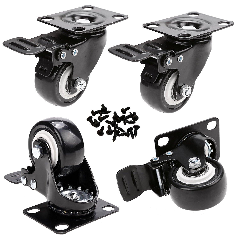 GAGEC 2'' Swivel Caster Wheels Rubber Base with Brake & 20 Screws Bearing Heavy Duty Pack of 4