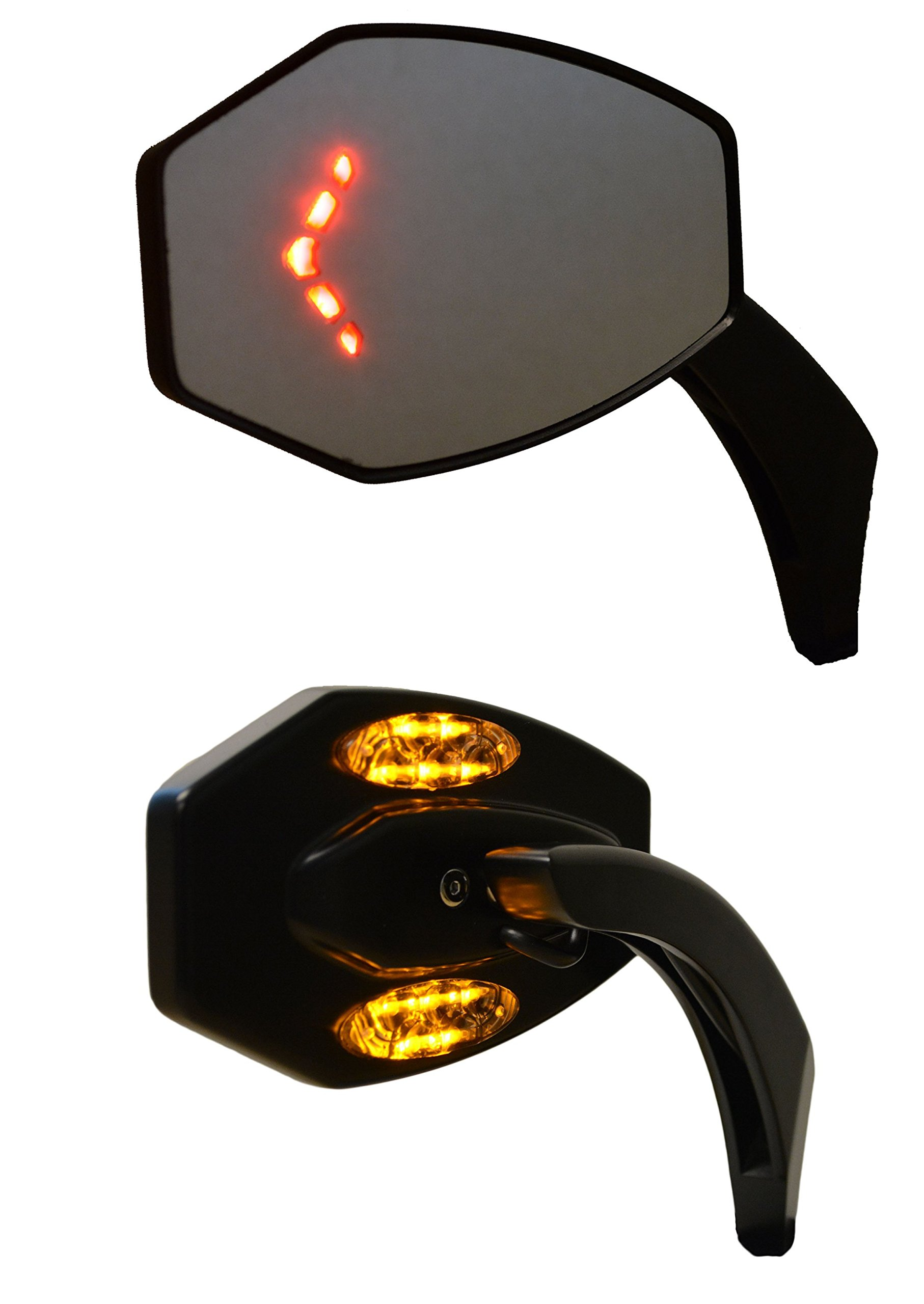 Rear View Side Mirrors with Flat Glass and LED Turn Signal//Blinker Lights Kuryakyn 1431 Motorcycle Handlebar Accessory Chrome 1 Pair